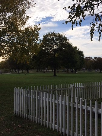 New Castle, DE: Some of the trees and green grass in the park.