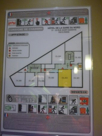 Ibis Gare du Nord TGV : 館内平面図(3階)
