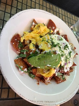 Eggs and bacon and chilaquiles