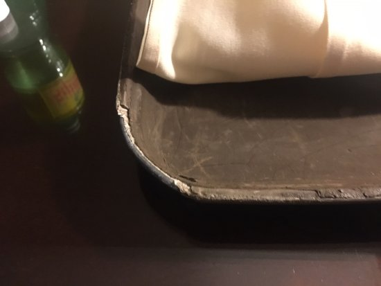 Depew, NY: This room service tray has seen better days.