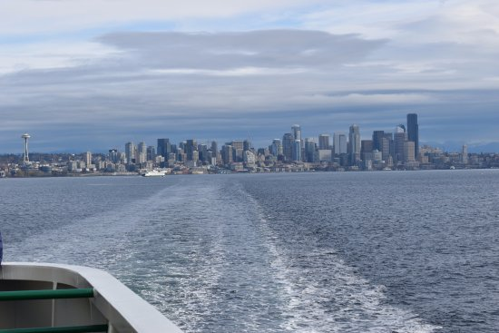 Washington State Ferries: Leaving the ferry slip with Seattle on the skyline.