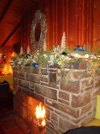Maitre D At Trombino's: Stunningly decorated fireplace mantle.