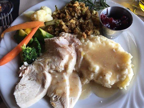Peppercorn Grille: Thanksgiving dinner--turkey, potatoes, stuffing, vegetables, cranberry sauce