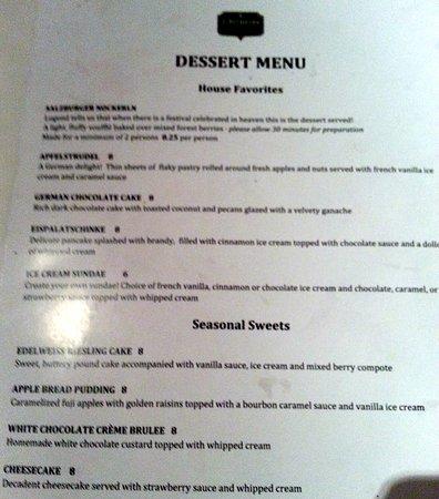 Norridge, IL: dessert menu at Edelweiss