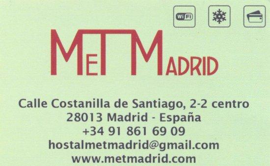 visitkort picture of hostal met madrid madrid tripadvisor