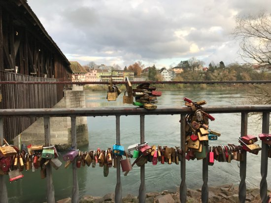 Lovers Locks By The Oldest Covered Wooden Bridge In Europe
