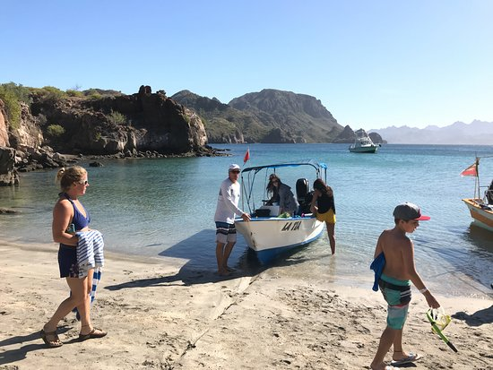 Dolphin Dive Center: Leaving the beach at Isla Danzante