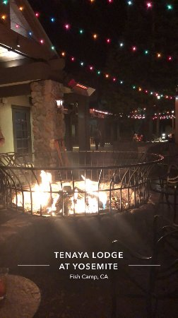 Fish Camp, CA: Loved the fire pit and christmas lights outside of Jackalopes