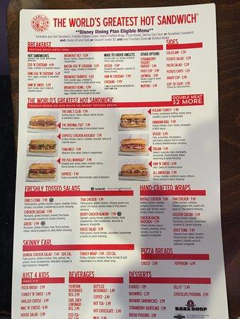 Earl of Sandwich: Cardápio - com preços - frente