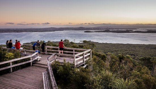 Auckland, New Zealand: 360° panoramic view over the city and harbour from Rangitoto Island summit.