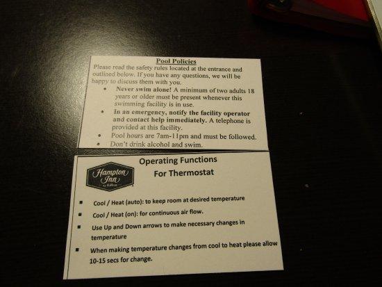 Hampton Inn Kingston: I liked these like cards in the key-card case