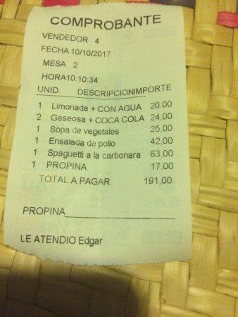 Conta - Restaurante La Luna