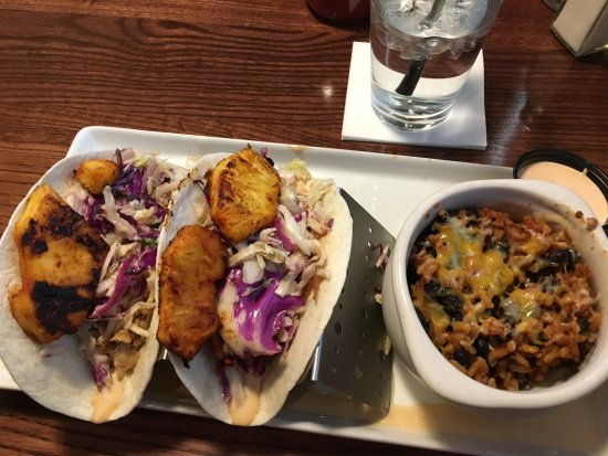 Tavern on the Hill: Pulled pork tacos with black beans and rice.