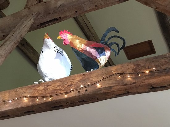 Pembridge, UK: Papier Mache chickens in the rafters - loved these guys!