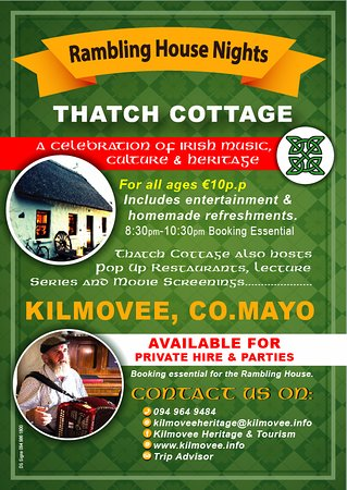 Kilmovee, Irland: Ramblin House Nights starting in 2018 ! Thatch available for private hire. Ring 094 964 9484.
