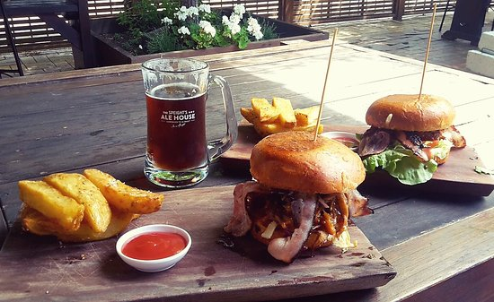 Speights Ale House : Pork burger in the front, chicken at the back