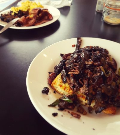 Timaru, Yeni Zelanda: Mushrooms on toast and scrambled eggs, bacon and mushrooms