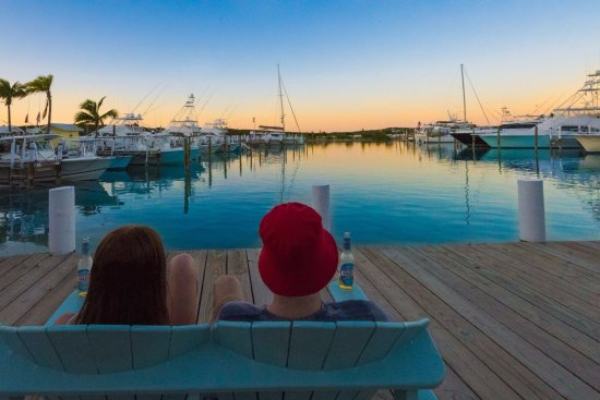 Elbow Cay: Taking in the hues of a beautiful sunset from the deck at Sea Spray Resort and Marina