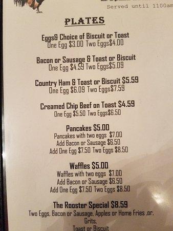 Hot Springs, VA: Current menu options for lindsays