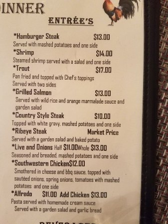 Lindsay's Roost Bar and Grill: Current menu options for lindsays