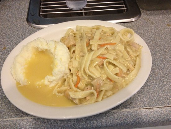 Eureka, IL: Our Homemade Chicken and Noodles with mashed potatoes!
