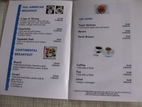Eco Cafe Fiji Menu