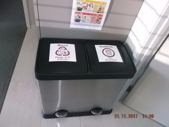 Stratford, New Zealand: Recycling bins in kitchen area.