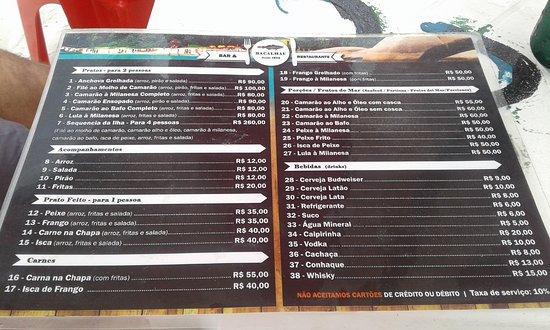 Campeche island: Cardápio do único restaurante da ilha
