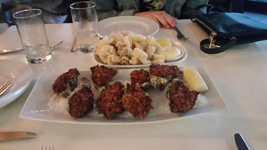 Balgowlah, Australia: Oysters Filpatrick and salt and pepper squid as entree
