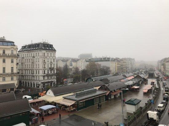 """wombats CITY HOSTEL Vienna """"THE NASCHMARKT"""": View from Wombats City Hostel of the Naschmarkt"""