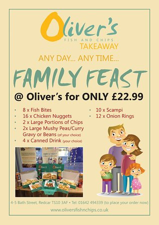 THE #FAMILY #FEAST #DEAL IS A FANTASTIC IDEA FOR ALL THE FAMILY @OLIVER'S REDCAR #TAKEAWAY!