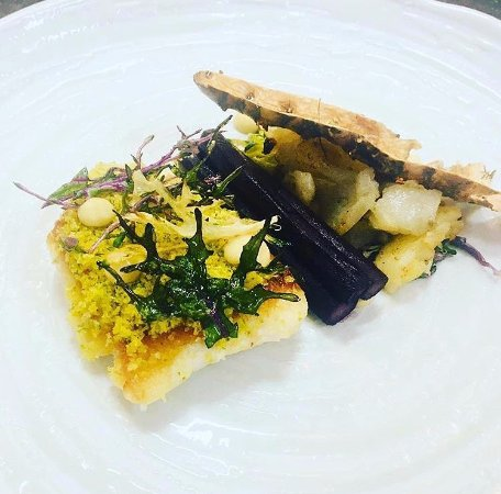 Farnham Common, UK: Our Citrus Crusted Brill with Red Wine Salsify, Rainbow Kale and Salt Baked Jerusalem Artichoke