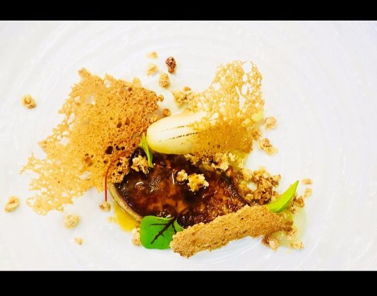 Farnham Common, UK: Seared Foie Gras with Apple Gel, Wild Honey Granola, Touched Pear & Sweet and Sour Glaze