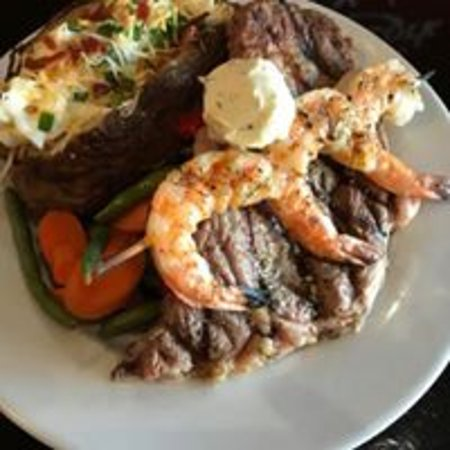 Gatesville, TX: Daily special ribeye with grilled shrimp