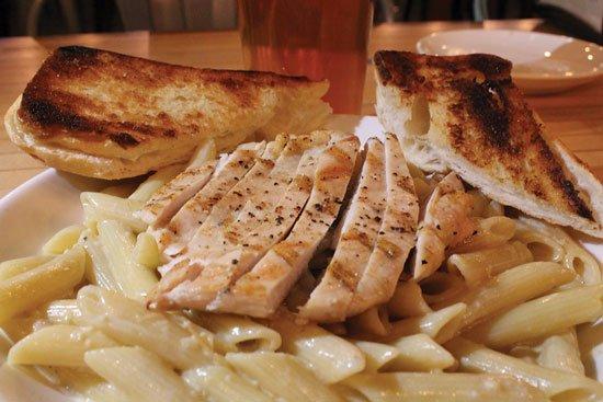 Dowagiac, MI: We had Chicken Alfredo. It was an AUCE Monday special. GARLIC!!!