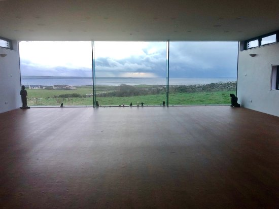 The Cliffs of Moher Retreat: Yoga studio looking out over Atlantic with windows on sides, too