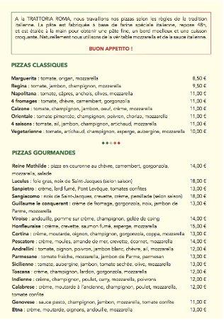 Pont-Audemer, Frankrig: Carte des pizzas
