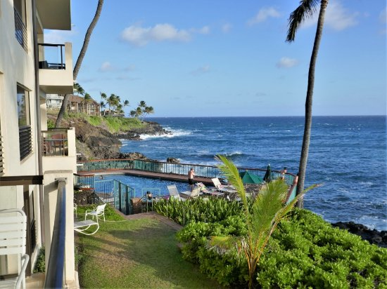 Poipu Shores Resort: View of pool and ocean from our porch