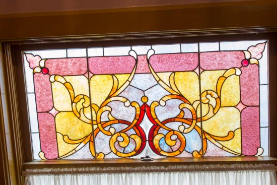 Council Grove, KS: One of the many stained glass windows featured in the building.