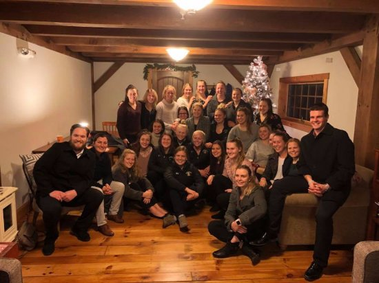 Fairfax, VT: Hockey team gathering in living room of The Inn
