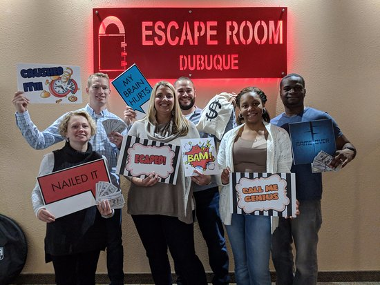Dubuque, IA: Some successful escape room experience players!