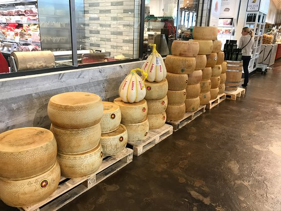 Eataly: Wheels of parmigiano cheese