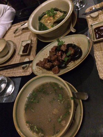 Home Finest Saigon Restaurant: Charcoal grilled beef, Sweet & Sour Broth, Fried Rice with lotus seed