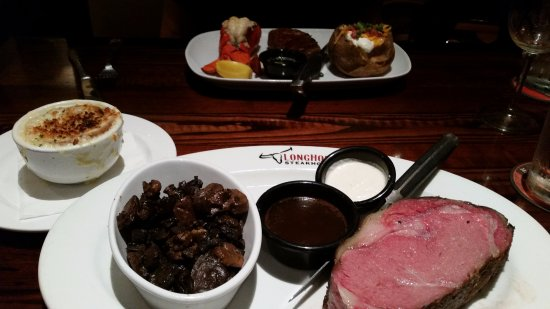 LongHorn Steakhouse: French Onion Soup, Filet & Lobster Tail w/Baked Potato, 16 oz Prime Rib and Sauteed Mushrooms.