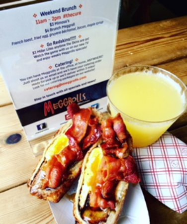 Meggrolls: Brunch Meggroll: French toast, fried egg, cheese & bacon drizzled w/maple. Amazing. (Yes.. mimos