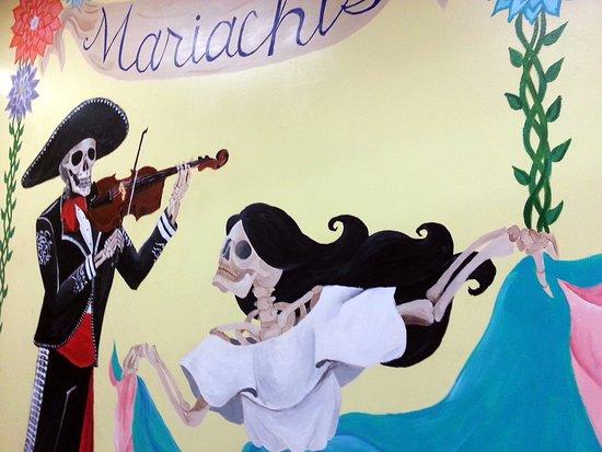 Mariachi's Tacos: wall mural for Dia de los Muertos