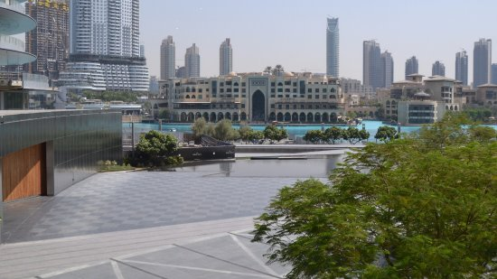 Carluccio's - Dubai Mall: the view over the musical fountain lake and the Souk Al Bahar across the water.