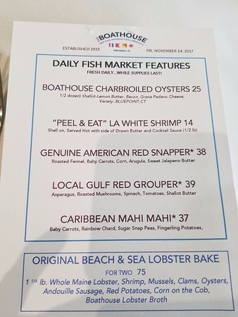 Daily Specials - Picture of The Boathouse, Orlando - TripAdvisor