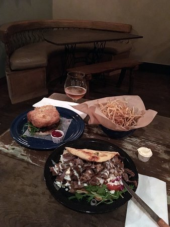 Cerrillos, NM: Juicy elk burger, crispy shoe string potatoes & tasty lamb flatbread