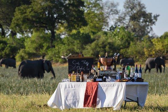 Linyanti Reserve, Botswana: Sundowner Set-up at Savuti Camp